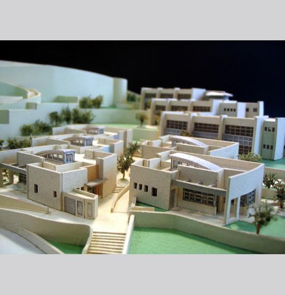 Model of the Kindergartens, with Ilan Ramon school in background