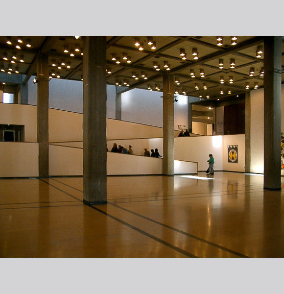 Main hall; view of ramps up to galleries